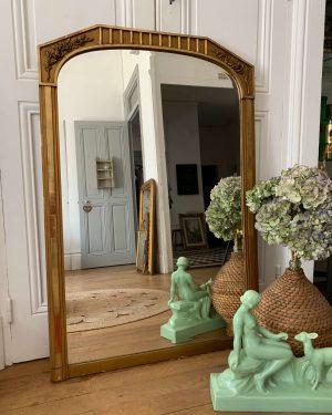 ancien miroir art déco doré décor de roses