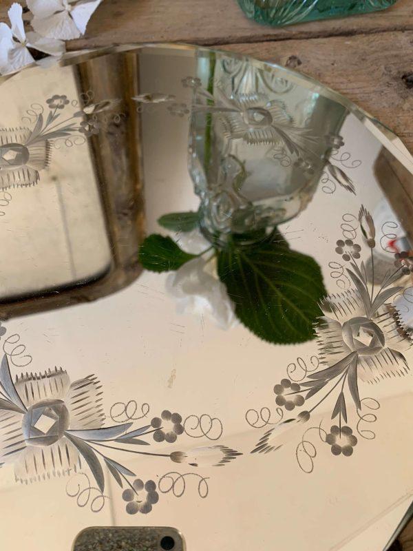 ancien miroir biseauté gravé et biseauté