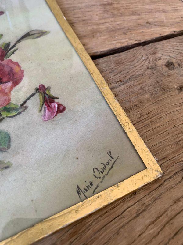 ancienne peinture aquarelle fleurs pensées