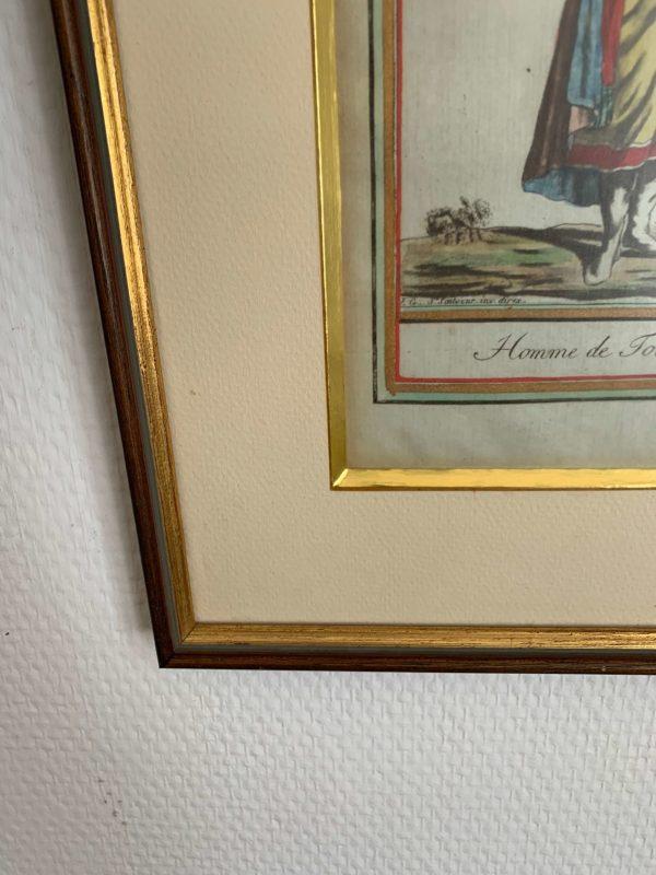 ancienne gravure 18ème costume gravure réhaussée