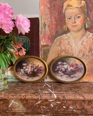 anciennes peintures à l'huile fleurs