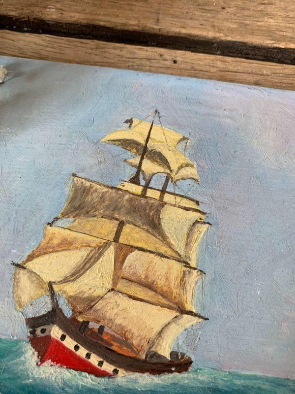ancienne peinture marine huile sur bois