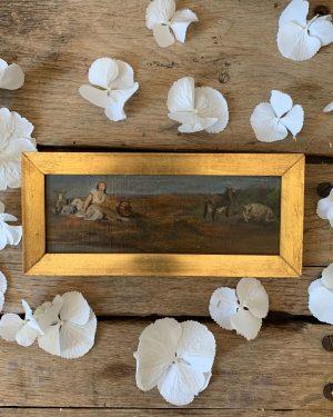 ancienne peinture à l'huile sur carton femme animaux de ferme