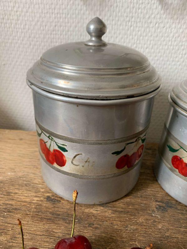 serie de 6 pots à épices ancien ce aluminium
