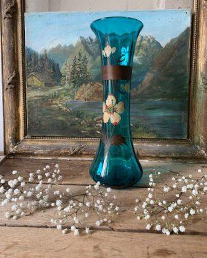 ancienne vase en verre bleu 19ème peints à la main