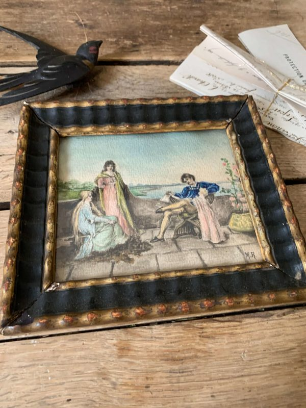 ancienne aquarelle scène de la renaissance peinture romantique