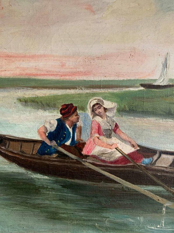 ancienne huile sur toile vers 1900 paysage hollandais