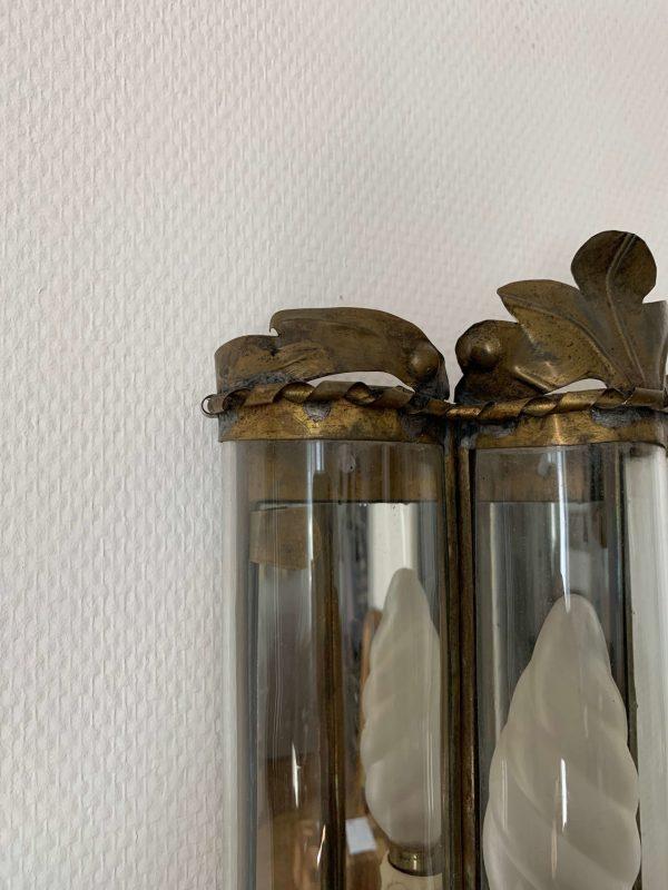 anciennes appliques en laiton verre et miroir