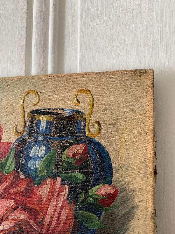 ancienne huile sur toile fleurs roses