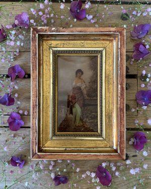 ancien cadre fixé sous verre femme 19ème siècle