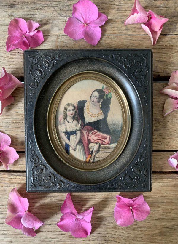 ancienne gravure rehaussée mère et fille cadre en gutta percha