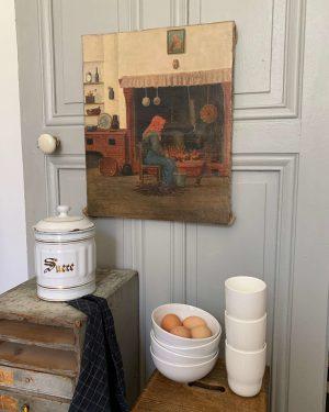 ancienne huile sur toile grand mère fin 19ème début 20ème
