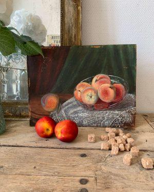 ancienne peinture à l'huile nature morte fruits pêches