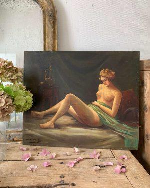 ancienne peinture à l'huile femme nue sur bois