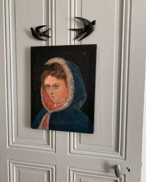 ancienne peinture à l'huile debut 20ème sur toile portrait de femme