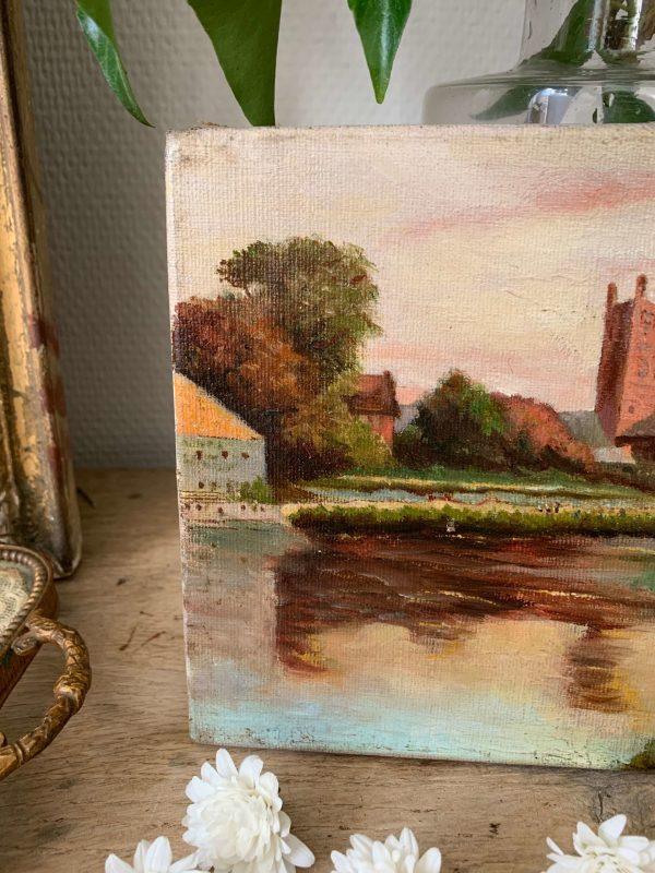 ancienne peinture paysage crépuscule