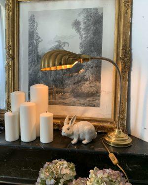 ancienne lampe coquillage en métal doré