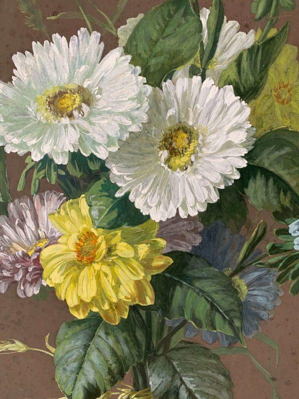 ancienne peinture à l'huile marguerites 19ème