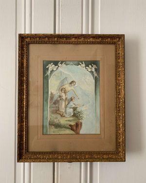 ancienne aquarelle ange gardien 1900