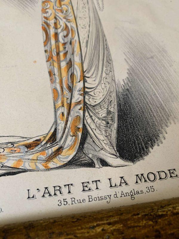 ancienne gravure de femme art déco art et la mode