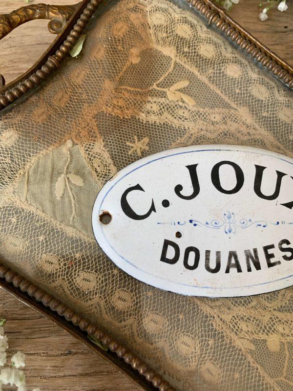ancienne plaque émaillée douanes