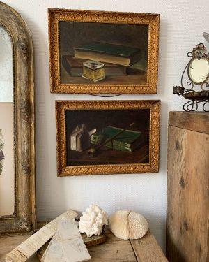 ancienne huile sur toile nature morte livres déco debut 20ème