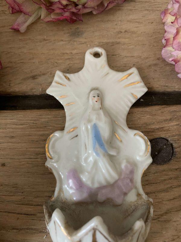 ancien bénitier porcelaine notre dame de lourdes
