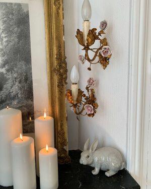 ancienne applique fleurs roses en porcelaine