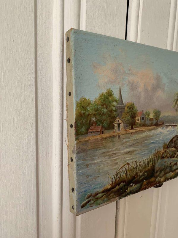 ancienne peinture à l'huile paysage fin 19ème
