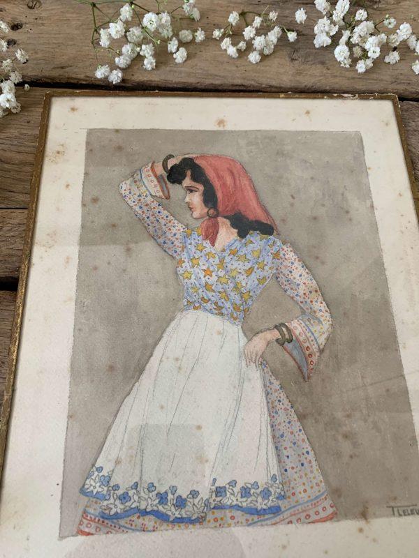 ancienne aquarelle femme gitane