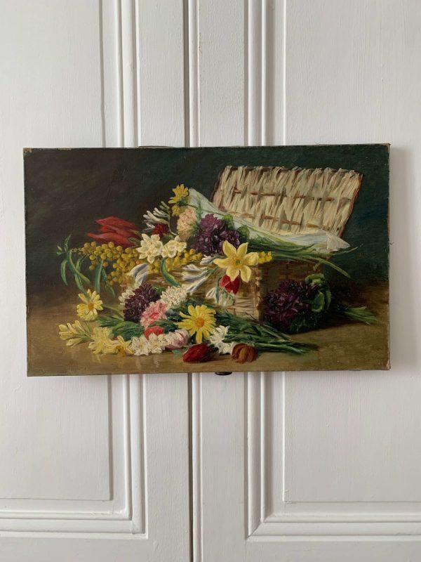 ancienne peinture fleurs à l'huile toile début XXème