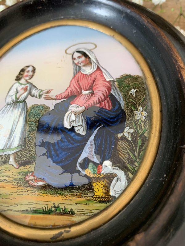 ancien fixé sous verre vierge et sainte anne 19ème