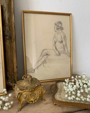 ancien dessin au crayon femme nue art deco