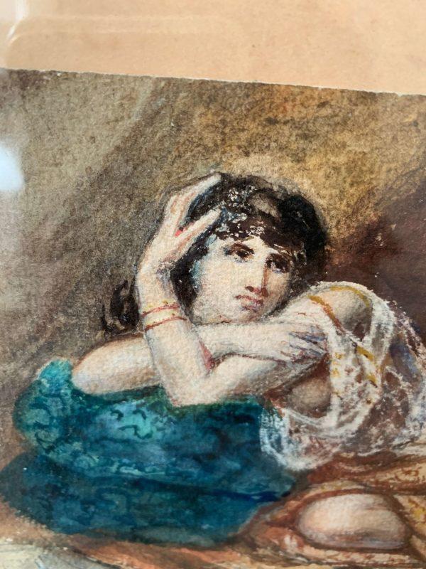 ancienne aquarelle femme d'alger 19ème siècle