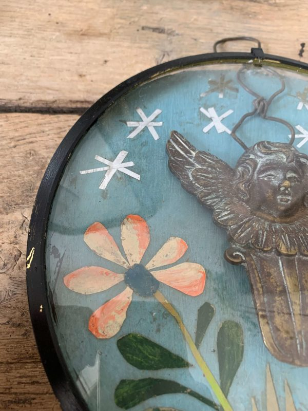 ancien cadre reliquaire ange