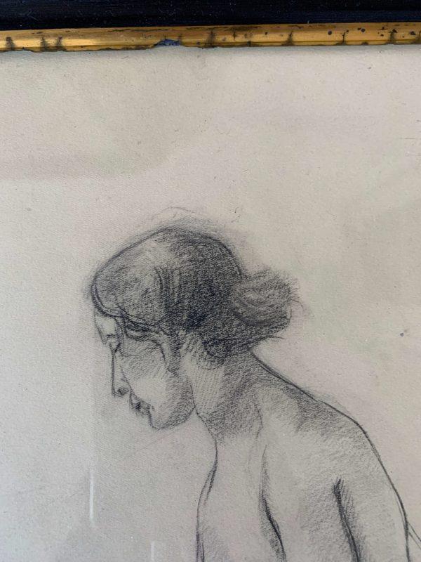 ancien dessin femme nues au crayon art déco