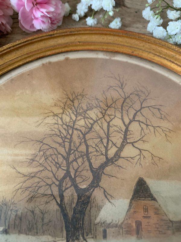 ancienne gravure hivernale