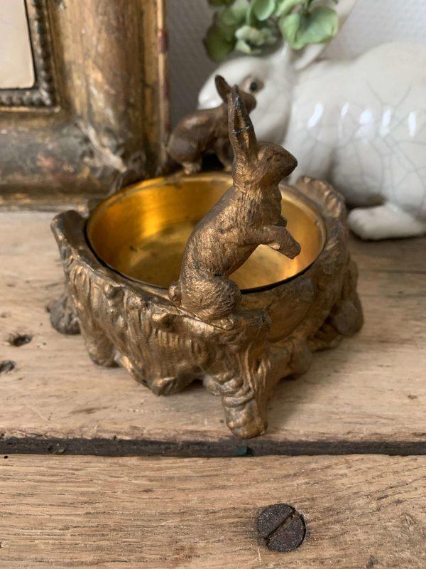 ancienne coupelle lapins dorés