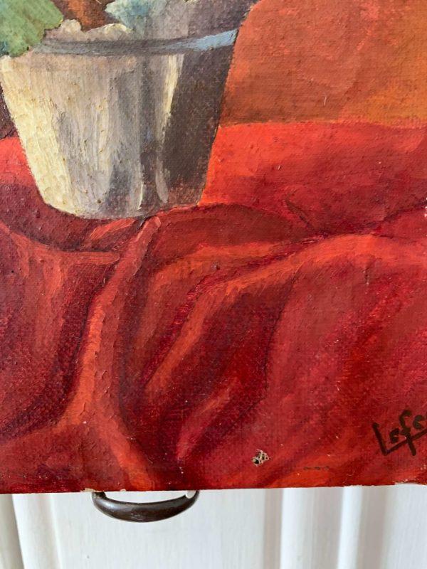 ancienne peinture à l'huile fleurs primevère
