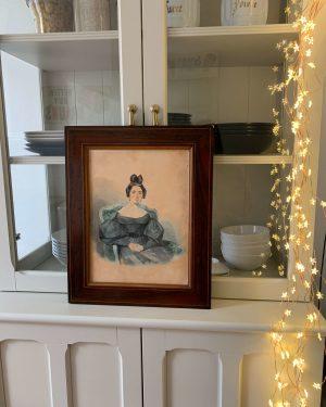 ancienne aquarelle femme bourgeoise fin XIXème