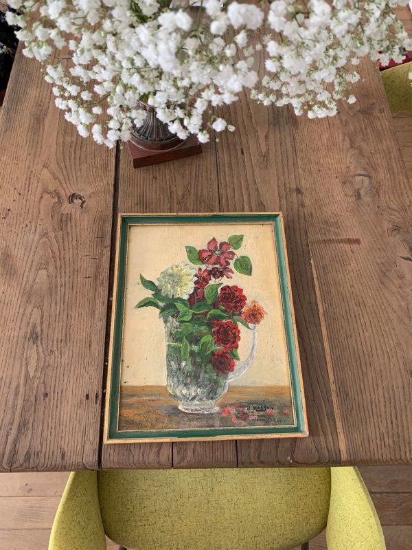 ancienne peinture fleurs huile sur carton