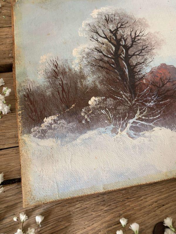 ancienne huile sur carton paysage d'hiver neige