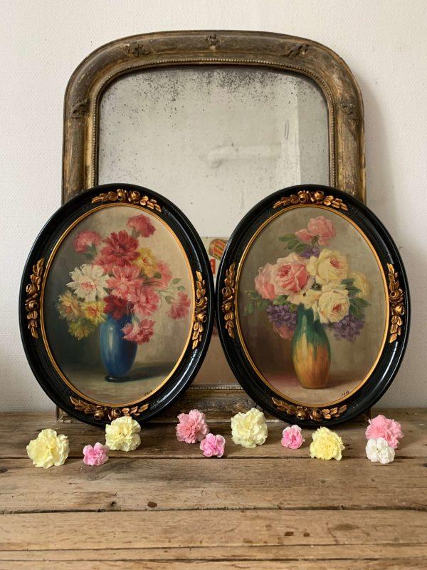 ancienne peinture à l'huile sur bois fleurs roses