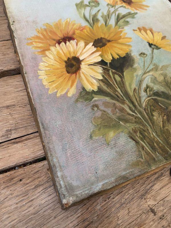 ancienne peinture à l'huile sur toile marguerites