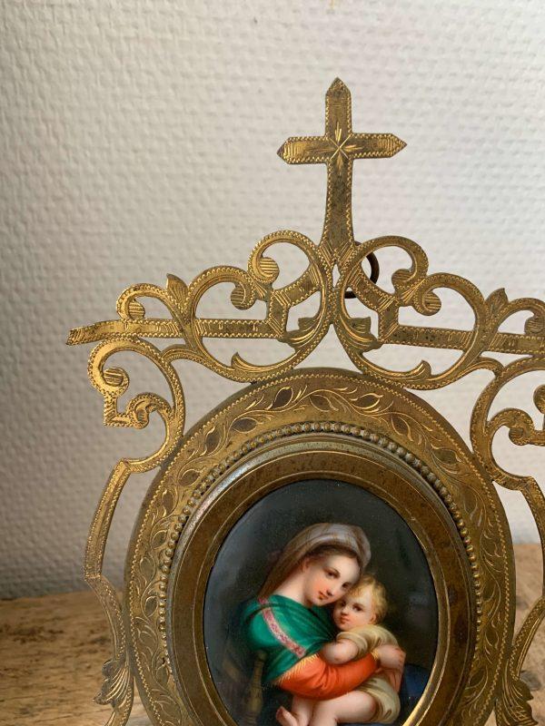 ancien autel du 19ème porcelaine miniature raphael vierge à la chaise
