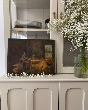 ancienne peinture à l'huile sur panneau bergerie mouton xixème