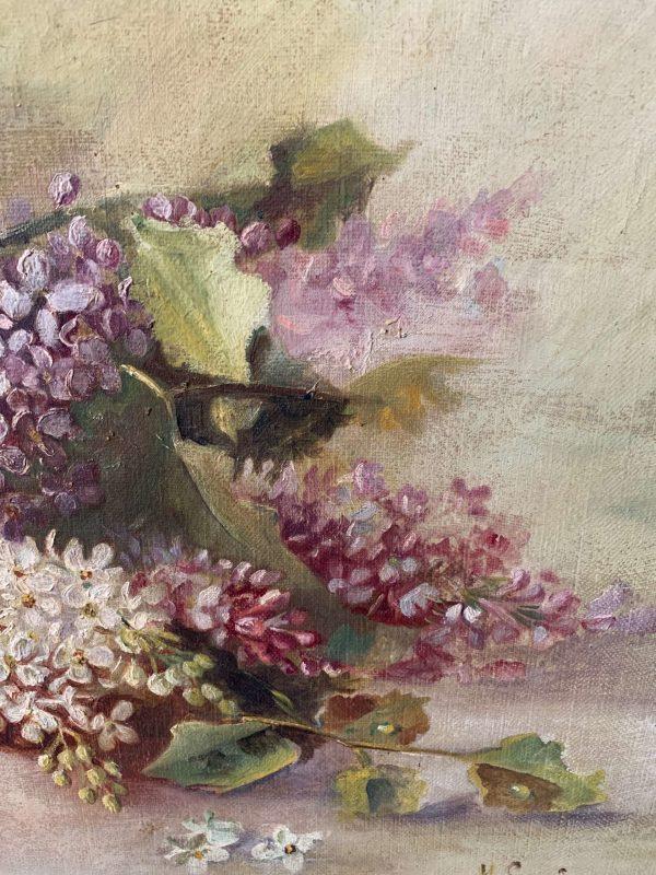 ancienne peinture à l'huile fleurs lilas