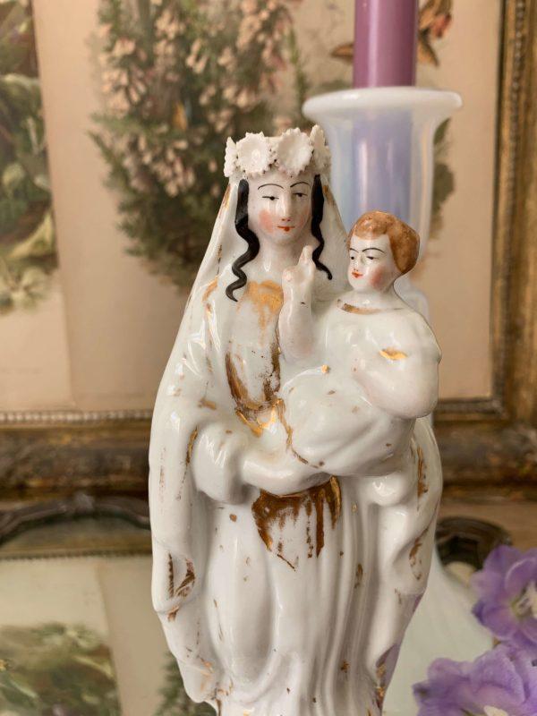 ancienne vierge à l'enfant en porcelaine de paris xixeme