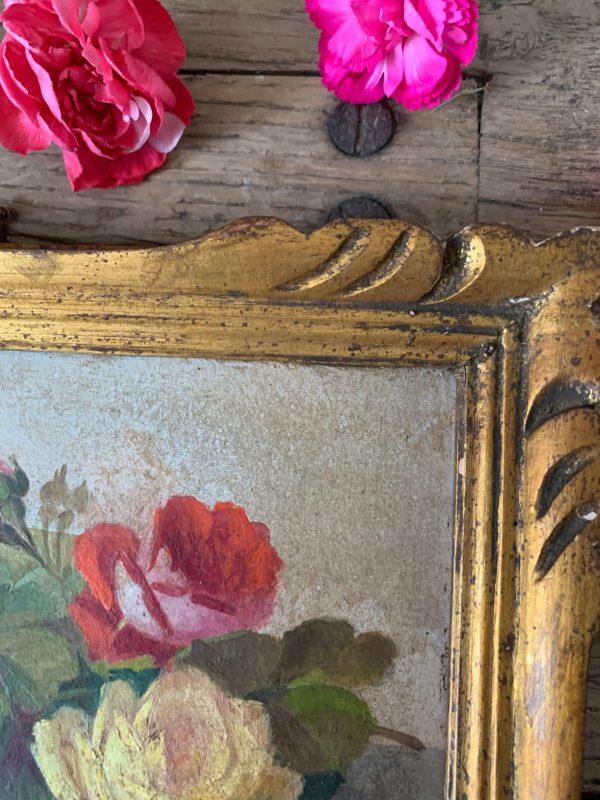 ancienne peinture fleurs bouquet de roses debut xxème