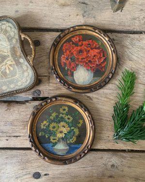 ancienne peinture miniature fleurs